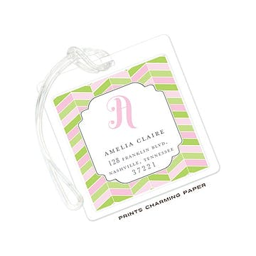 Pink and Green Chevron Mosaic ID Tag