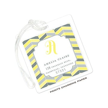 Yellow and Grey Chevron Mosaic ID Tag