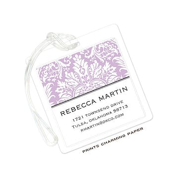 Purple Damask ID Tag