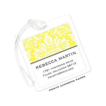 Yellow Damask ID Tag