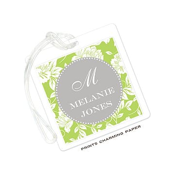 White Floral on Green & Grey ID Tag