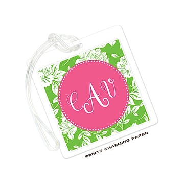 White Floral on Green & Hot Pink ID Tag