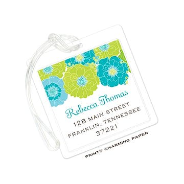 Modern Floral - Blue and Green ID Tag
