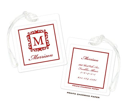 Red Elegant Framed Initial Luggage Tag