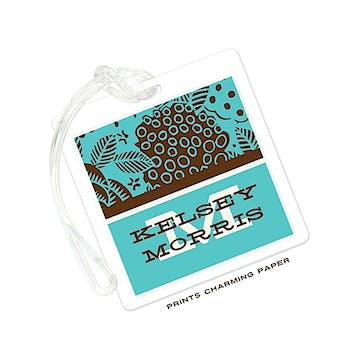 Turquoise & Brown Retro Floral Luggage Tag