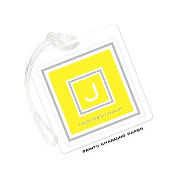 Yellow & Grey Framed Initial Luggage Tag