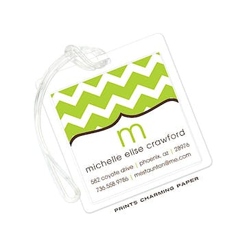 Lime Chevron Luggage Tag