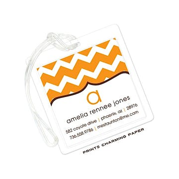 Orange Chevron Luggage Tag