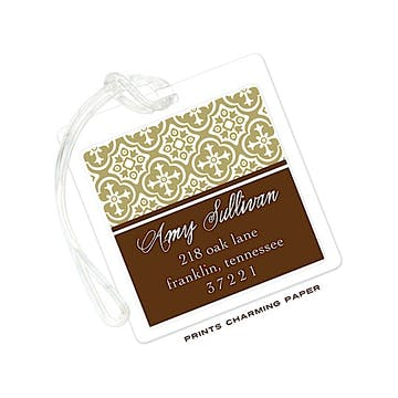 Brown & Gold Classic Pattern Luggage Tag
