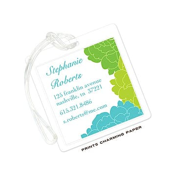 Blue & Green Elegant Floral Luggage Tag