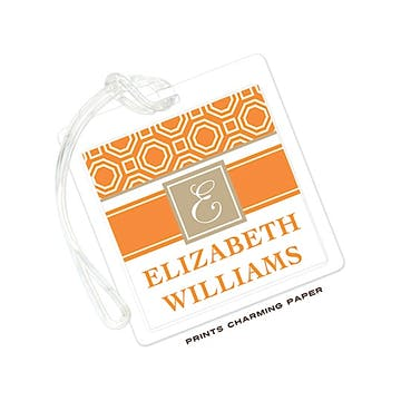 Orange & Sand Geometric Print Luggage Tag