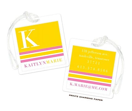 Yellow & Pink Modern Classic Initial Luggage Tag