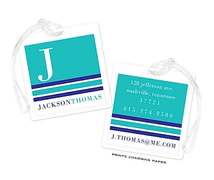 Turquoise & Navy Modern Classic Initial Luggage Tag