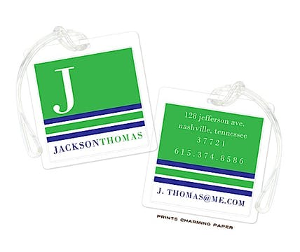 Green Y Navy Modern Classic Initial Luggage Tag