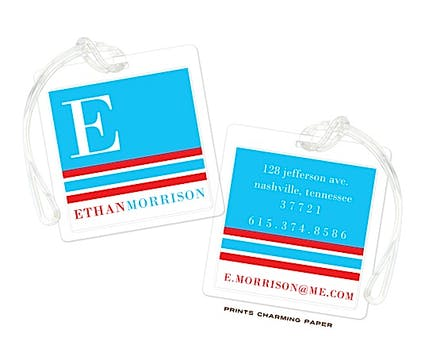 Blue & Red Modern Classic Initial Luggage Tag