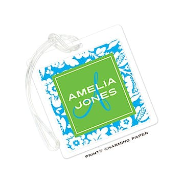 Aqua & Green Playful Floral Luggage Tag