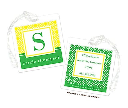 Yellow & Green Geometric Print Initial Luggage Tag