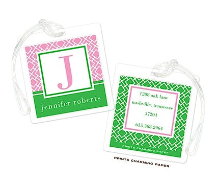 Green & Pink Geometric Print Initial Luggage Tag