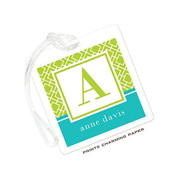 Lime & Turquoise Geometric Print Initial Luggage Tag