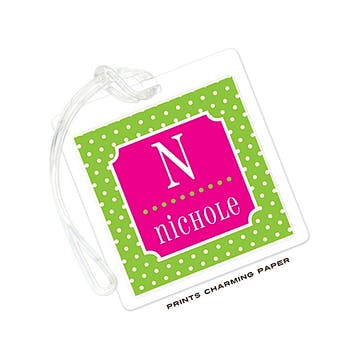 Green & Hot Pink Tiny Dots Luggage Tag