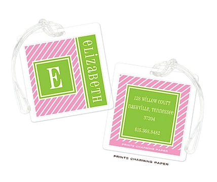 Pink & Lime Pinstripe Initial Luggage Tag