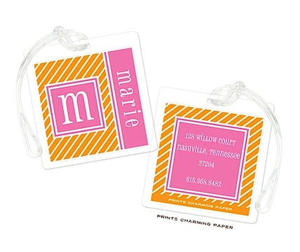 Orange & Pink Pinstripe Initial Luggage Tag