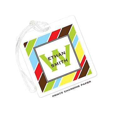 Multi Color Stripes Luggage Tag