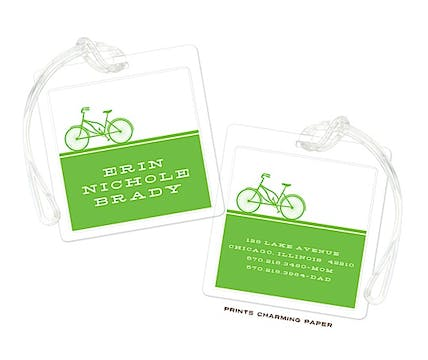 Green Bicycle Silhouette Flat Luggage Tag