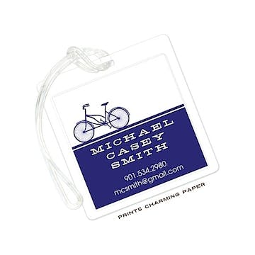 Navy Bicycle Silhouette Flat Luggage Tag