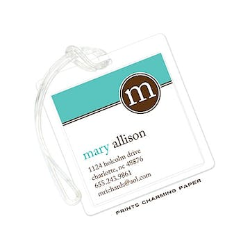 Turquoise Modern Luggage Tag