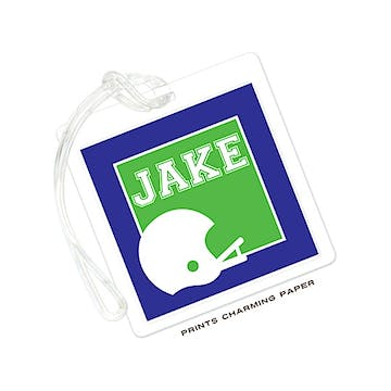 Blue & Green Football Helmet Luggage Tag