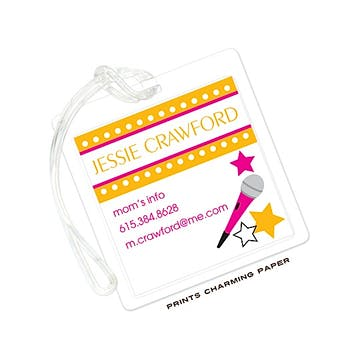Orange & Pink Rock Star Luggage Tag