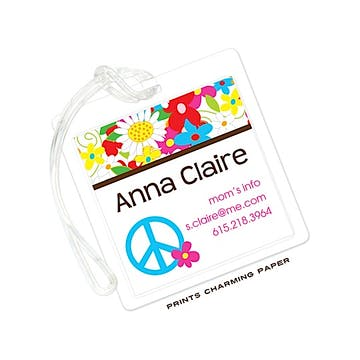 Multi Color Floral Peace Sign Flat Luggage Tag