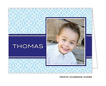 Light Blue & Navy Stylish Pattern Digital Photo Folded Note