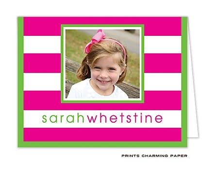 Hot Pink Preppy Stripe Digital Photo Folded Note