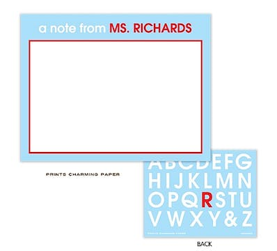 Light Blue & Red Teachers Flat Note