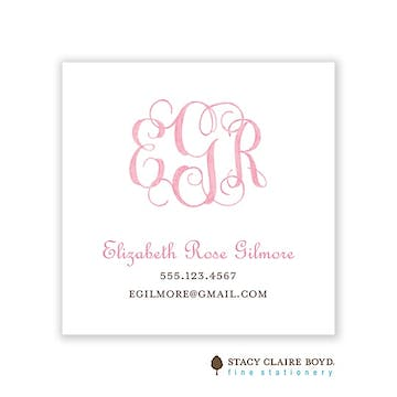 Powdered Monogram - Pink Calling Card