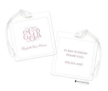 Powdered Monogram - Pink Luggage Tag