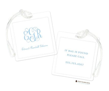 Powdered Monogram - Blue Luggage Tag