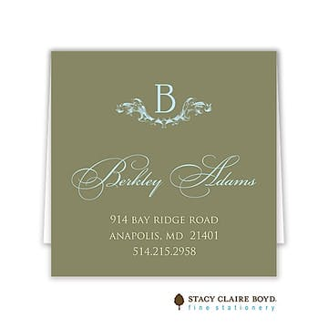 Elegant Baby Blue Folded Enclosure Card