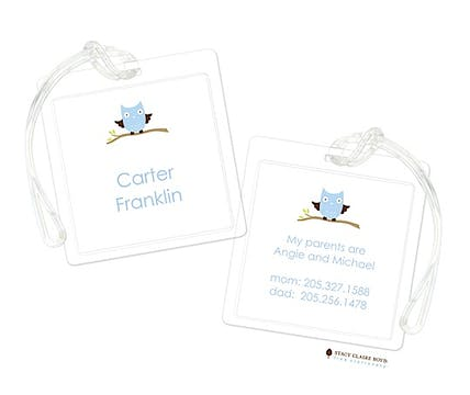 Baby Owl Blue Luggage Tag