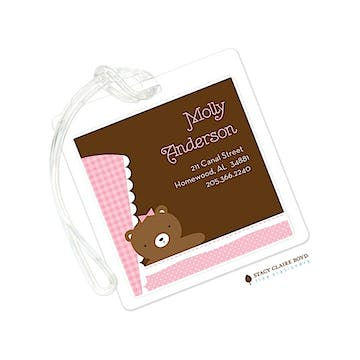 Teddy Pram - Pink Luggage Tag