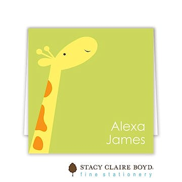 Party Giraffe Folded Calling Card