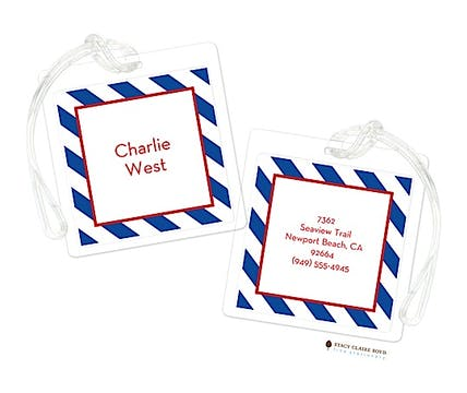 Rugby Striped Birthday Luggage Tag