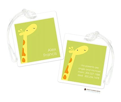 Party Giraffe Blue Luggage Tag