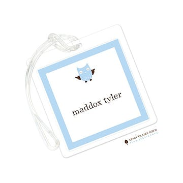 Whooos Party Blue Luggage Tag