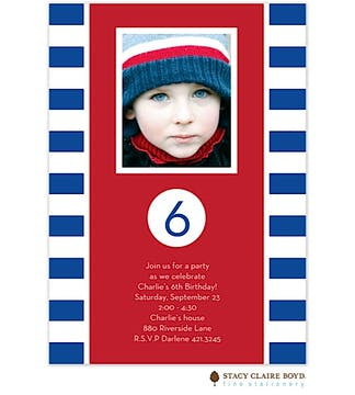 Rugby Stripe Birthday Party Invitation