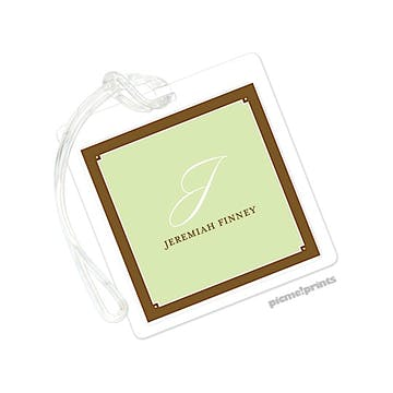 Spring Green Square Luggage Tag