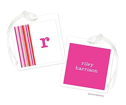 Hot Pink Square Luggage Tag