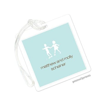 Robin's Egg Square Luggage Tag